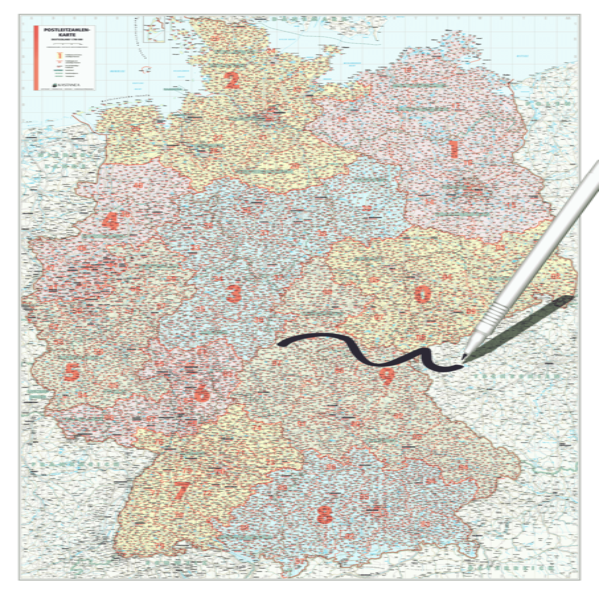 BACHER Postleitzahlenkarte Deutschland, Maßstab 1:700 000, Papierkarte gerollt, folienbeschichtet - Coverbild