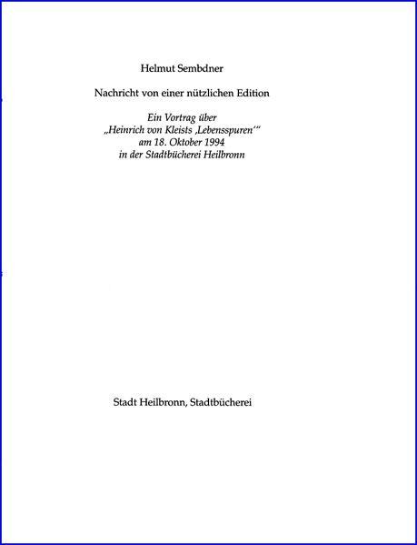 Nachricht von einer nützlichen Edition - Coverbild