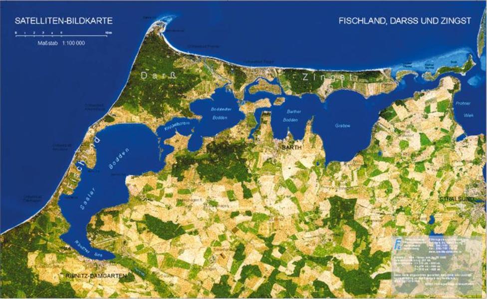 Fischland, Darss und Zingst - Satellitenbildkarte 1:100.000 - Coverbild