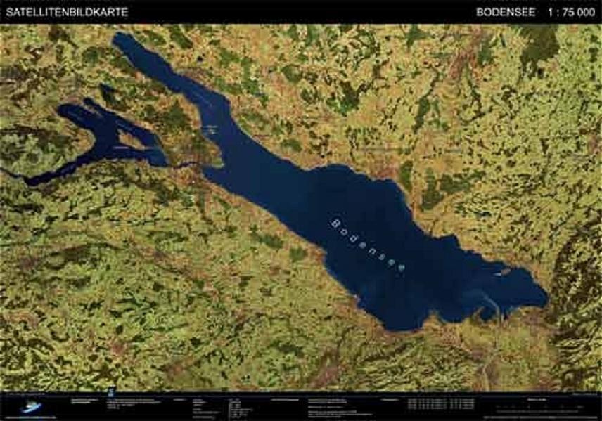 Bodensee - Satellitenbildkarte - Coverbild