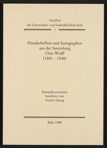 Handschriften und Autographen aus der Sammlung Otto Wolff (1881-1940) - Coverbild