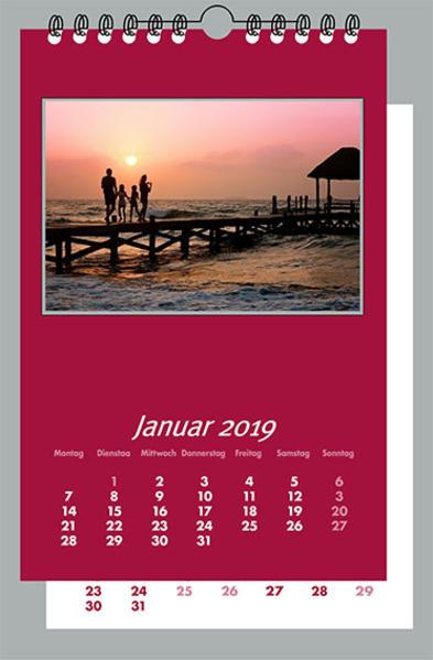 Fotokalender und Bastelkalender 2018 BORDEAUX. 12 Monatsblätter mit neutralem Deckblatt.  Format 21x30 cm. Für Bilder 13x18 cm Hoch und Quer. - Coverbild