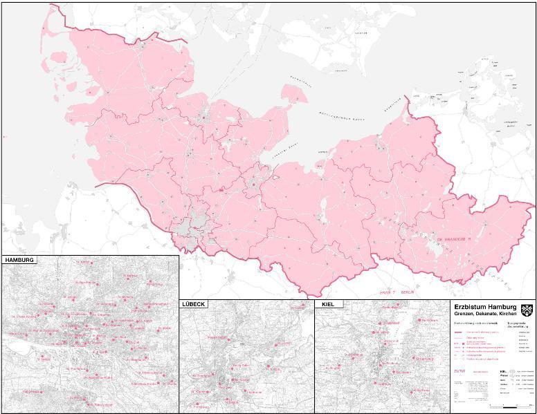 Karte des Erzbistums Hamburg - Coverbild