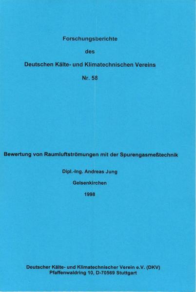 Bewertung von Raumluftströmungen mit der Spurengasmesstechnik - Coverbild