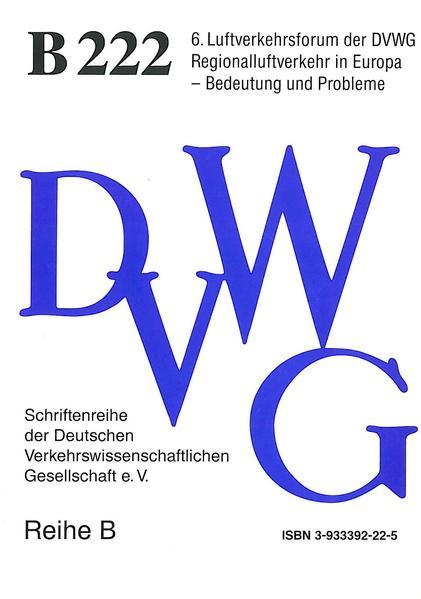 Luftverkehrsforum der DVWG (6.) Regionalluftverkehr in Europa - Bedeutung und Probleme - Coverbild