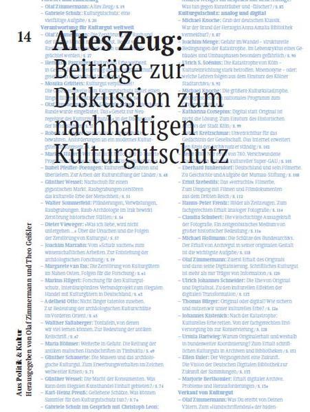 Altes Zeug: Beiträge zur Diskussion zum nachhaltigen Kulturgutschutz  - Coverbild