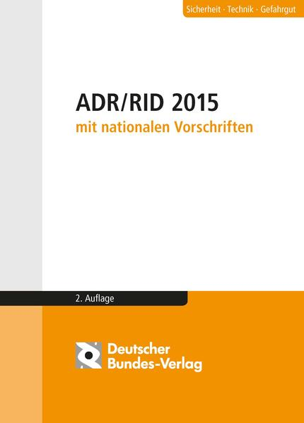 ADR / RID 2015 mit nationalen Vorschriften - Coverbild