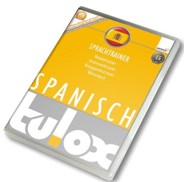 tulox Sprachtrainer Spanisch - Vokabeltrainer, Konjugations- und Grammatiktrainer inklusive e-Euro-Wörterbuch mit 20.000 fremdsprachlich vertonten Vokabeln - Coverbild
