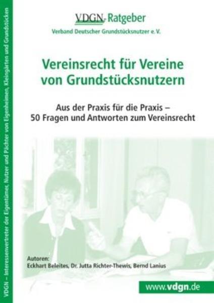 Vereinsrecht für Vereine von Grundstücksnutzern - Coverbild