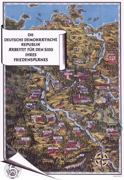 Historische Karte: Die DDR 1952 aus der Vogelperspektive - Coverbild