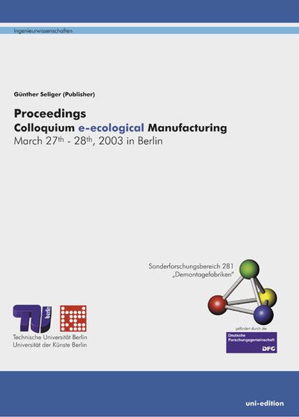 Proceedings Colloquium e-cological Manufacturing - Coverbild