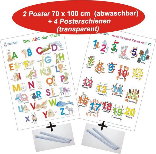 Das ABC der Tiere + Meine tierischen Zahlen von 1-20 + Posterschienen - Coverbild