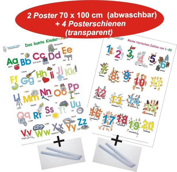 Das bunte Kinder-ABC + Meine tierischen Zahlen von 1-20 + Posterschienen - Coverbild