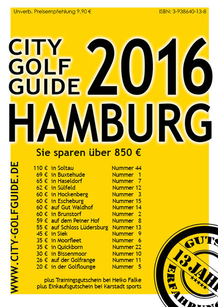 city golf guide hamburg 2016 frank puscher buch. Black Bedroom Furniture Sets. Home Design Ideas