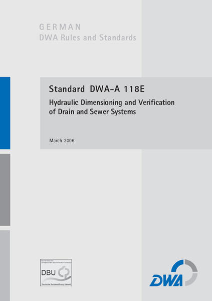 Standard DWA-A 118E Hydraulic Dimensioning and Verification of Drainage Systems - Coverbild