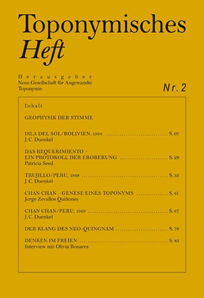 Toponymisches Heft Nr. 2 - Coverbild