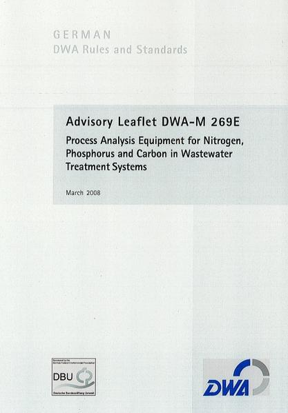 Advisory Leaflet DWA-M 269E Process Analysis Equipment for Nitrogen, Phosphorus and Carbon in Wastewater Treatment Systems - Coverbild