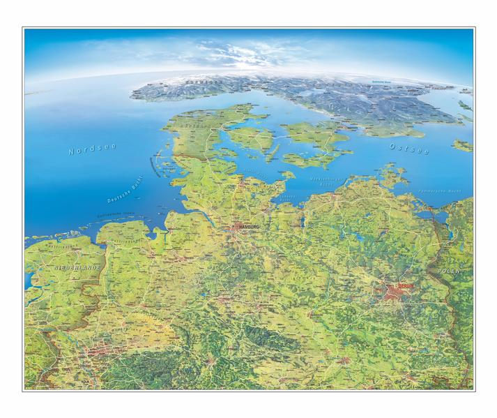 PDF Download Panoramakarte Norddeutschland, einseitig laminiert