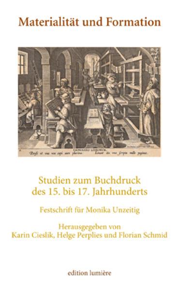 Materialität und Formation. Studien zum Buchdruck des 15. bis 17. Jahrhunderts. - Coverbild