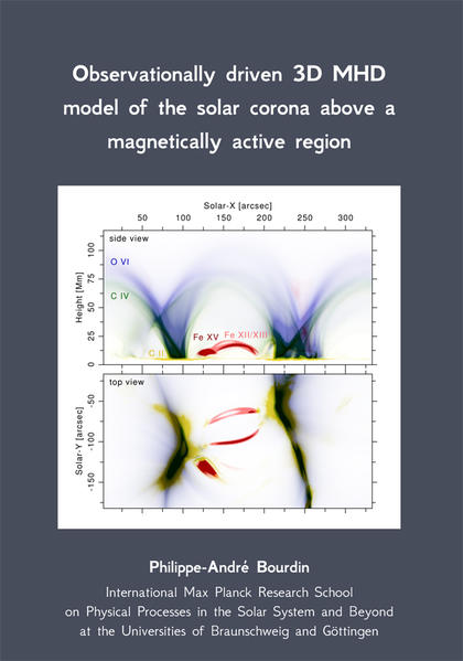 Observationally driven 3D MHD model of the solar corona above a magnetically active region - Coverbild