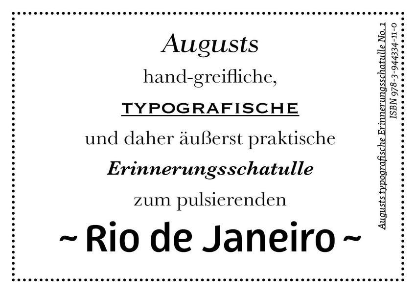 Augusts Erinnerungsschatulle Rio de Janeiro - Coverbild