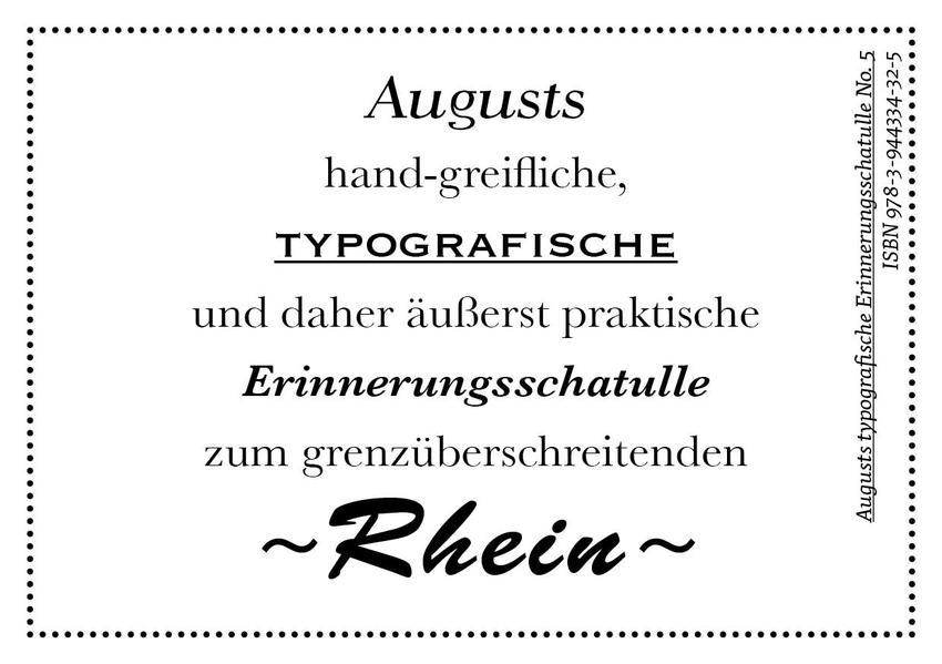 Augusts Erinnerungsschatulle Rhein - Coverbild