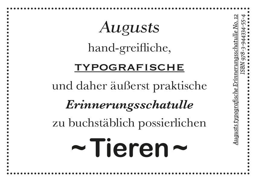 Augusts Erinnerungsschatulle Tiere - Coverbild