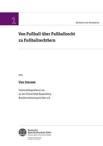 Von Fußball über Fußballrecht zu Fußballrechtlern - Coverbild