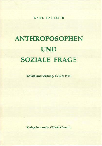 Anthroposophen und soziale Frage - Coverbild