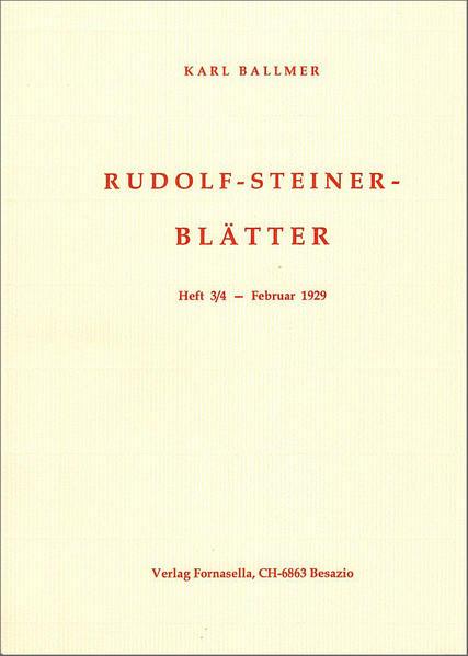 Rudolf-Steiner-Blätter Nr. 3/4 - Coverbild