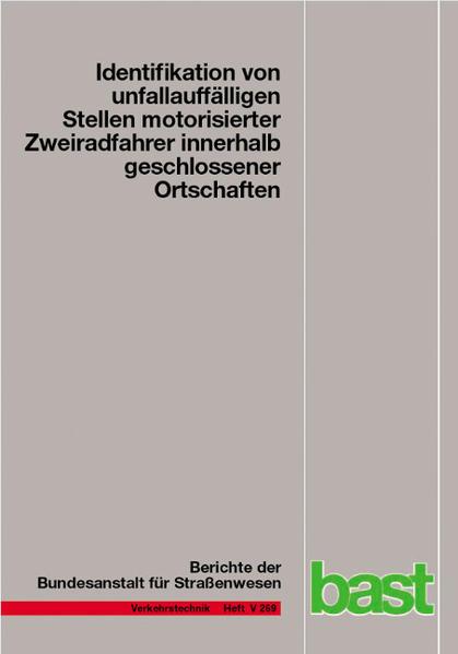Identifikation von unauffälligen Stellen motorisierter Zweiradrahrer innerhalb geschlossener Ortschaften - Coverbild