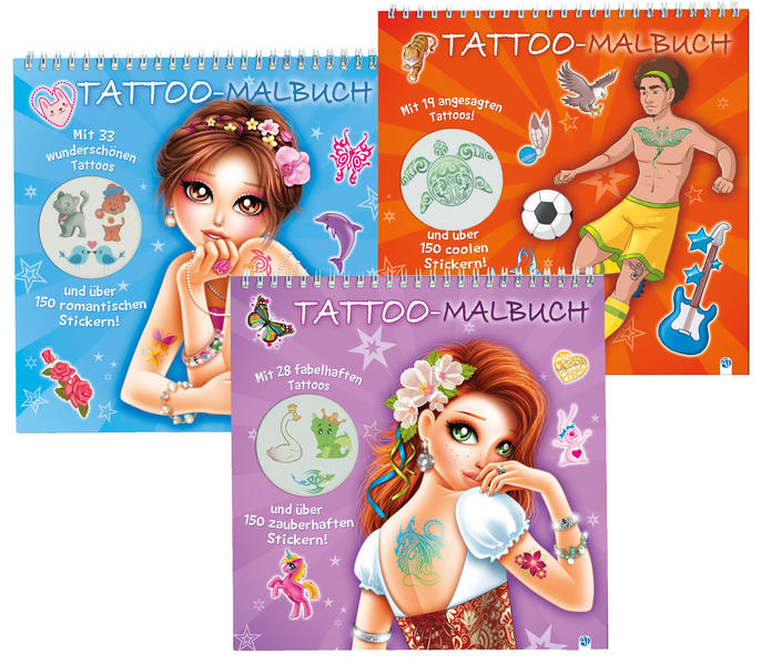 Tattoo-Malbuch in 3 Motiven - Coverbild