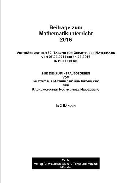 Beiträge zum Mathematikunterricht 2016 - Coverbild