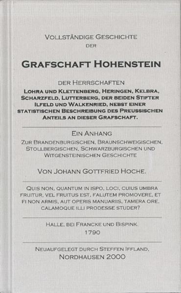 Vollständige Geschichte der Grafschaft Hohenstein - Coverbild