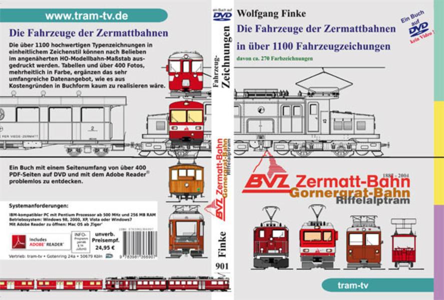 Die Fahrzeuge der Zermattbahnen in über 1100 Fahrzeugzeichnungen. - Coverbild