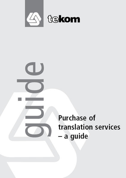 Purchase of translation services - A guide - Coverbild