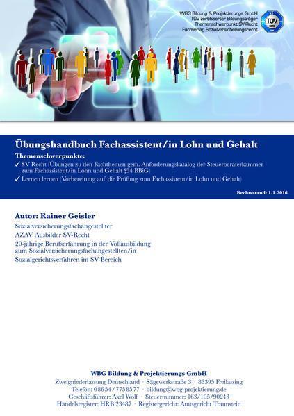 Übungshandbuch zum Fachassistenten/in Lohn und Gehalt SV-Recht - Coverbild