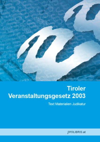 Tiroler Veranstaltungsgesetz 2003 - Coverbild