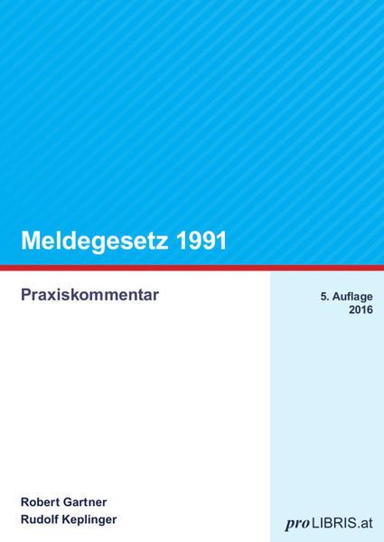 Meldegesetz 1991 - Coverbild