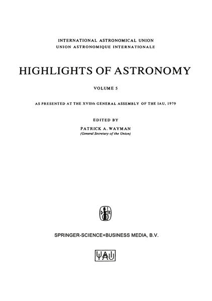 Highlights of Astronomy, Volume 5 - Coverbild