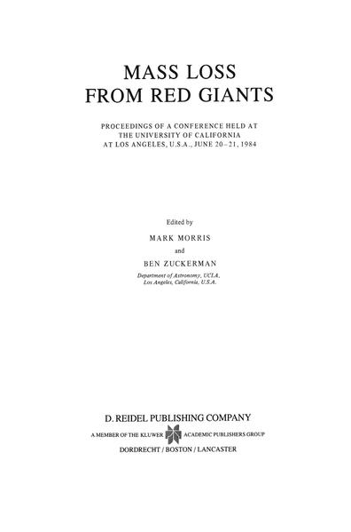 Mass Loss from Red Giants - Coverbild