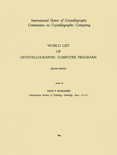World List of Crystallographic Computer Programs - Coverbild