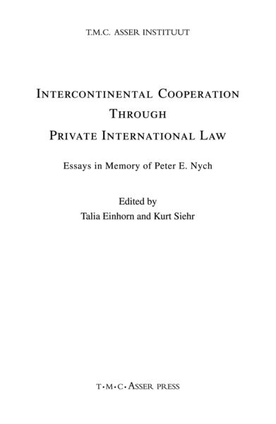 Intercontinental Cooperation Through Private International Law - Coverbild