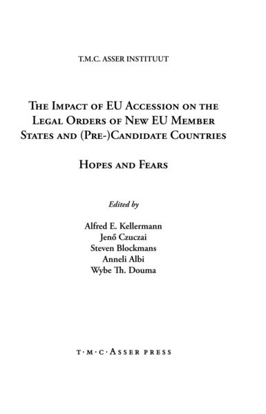 The Impact of EU Accession on the Legal Orders of New EU Member States and (Pre-) Candidate Countries - Coverbild