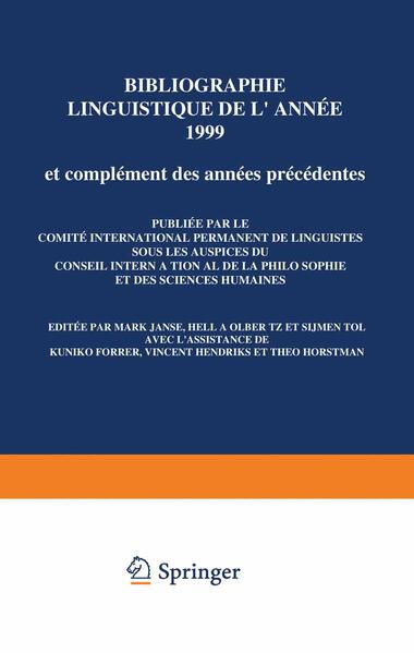 Bibliographie linguistique de l'année 1999/Linguistic Bibliography for the year 1999 - Coverbild