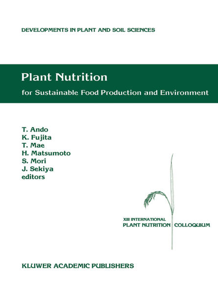 Plant Nutrition for Sustainable Food Production and Environment - Coverbild