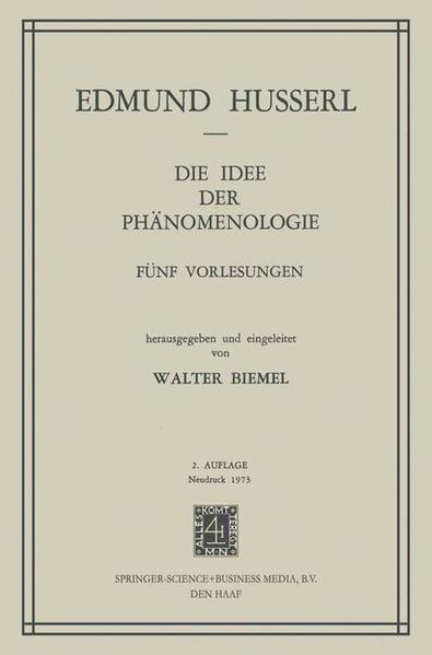 Die Idee der Phänomenologie - Coverbild
