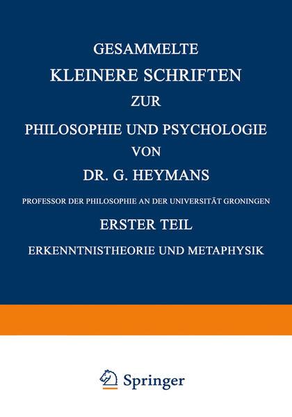 Gesammelte Kleinere Schriften zur Philosophie und Psychologie - Coverbild
