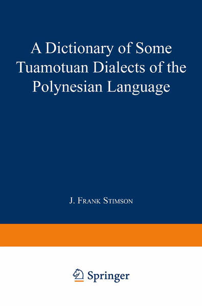 A Dictionary of Some Tuamotuan Dialects of the Polynesian Language - Coverbild